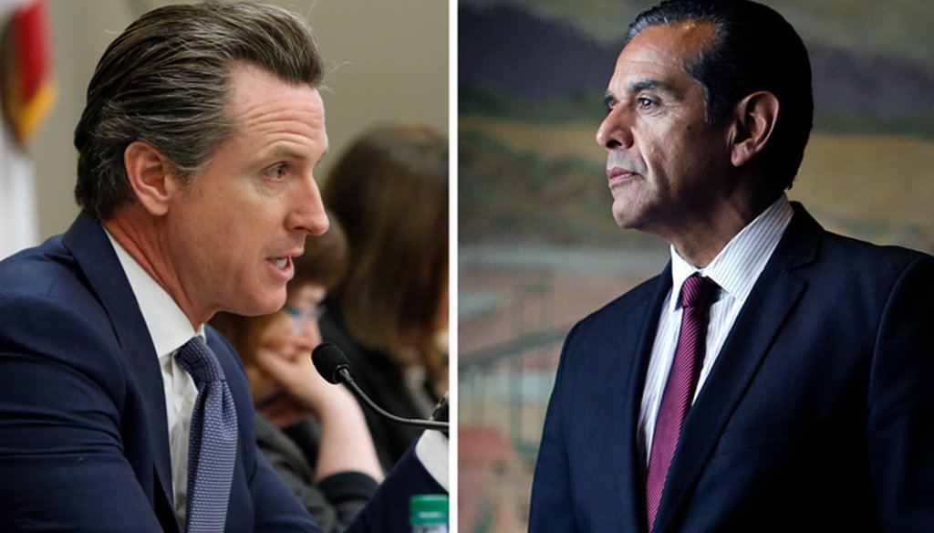 California Lt. Gov. Gavin Newsom (left) and former Los Angeles Mayor Antonio Villaraigosa, both Democrats, are competing in the 2018 California governor's race.