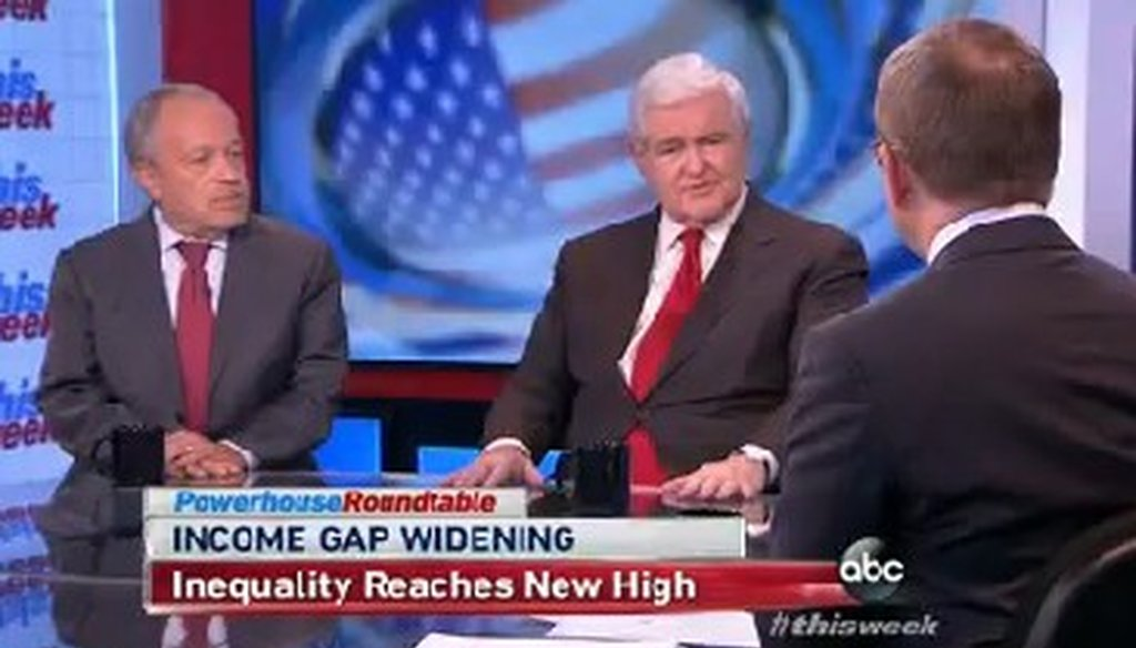 "Newt Gingrich appeared on ABC's ""This Week"" on Dec. 15, 2013."