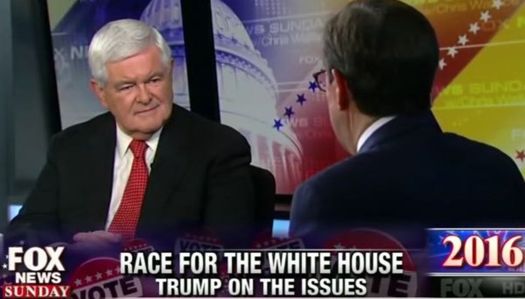 "Newt Gingrich, the former House speaker who has spoken favorably of Donald Trump, appeared on the May 15, 2016, edition of ""Fox News Sunday."""