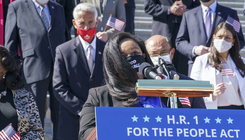 Rep. Nikema Williams, D-Ga, recalls the legacy of Rep. John Lewis as Democrats gather to address reporters on H.R. 1, the For the People Act of 2021, at the Capitol in Washington, Wednesday, March 3, 2021. (AP)
