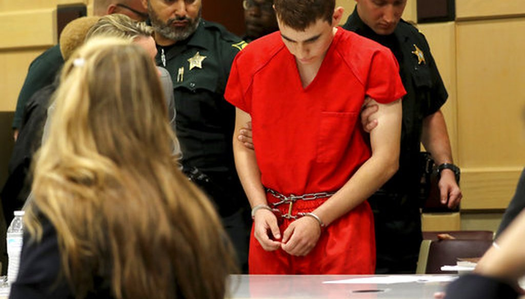 Nikolas Cruz appears in court for a hearing before Broward Circuit Judge Elizabeth Scherer Monday, Feb. 19, 2018, in Fort Lauderdale, Fla. Cruz is facing 17 charges of premeditated murder in the mass shooting at Marjory Stoneman Douglas High School. (AP)