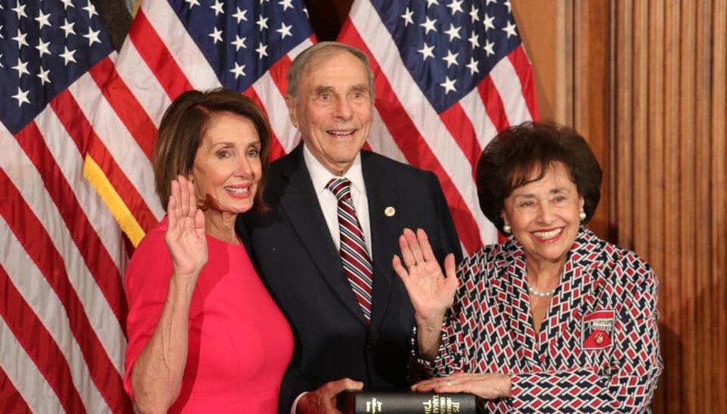Rep. Nita Lowey is administered the oath of office by House Speaker Nancy Pelosi on Jan. 3, 2019. (Facebook/Congresswoman Nita Lowey)