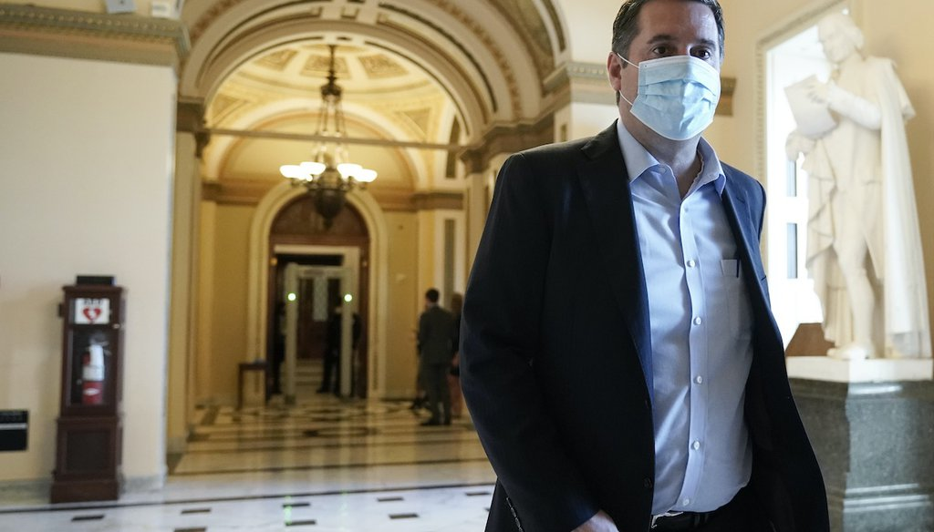 Rep. Devin Nunes, R-Calif., walks at the Capitol in Washington, Wednesday, Jan. 13, 2021, as the House of Representatives pursues an article of impeachment against President Donald Trump for his role in inciting an angry mob to storm the Capitol. (AP)