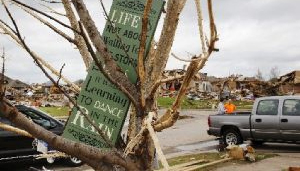 This neighborhood in southwestern Oklahoma City was heavily damaged by a strong tornado on May 30, 2013.