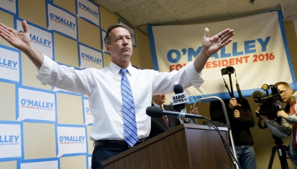 Democratic presidential candidate Martin O'Malley speaks to supporters at his campaign headquarters in Des Moines, Iowa, on May 30, 2015.