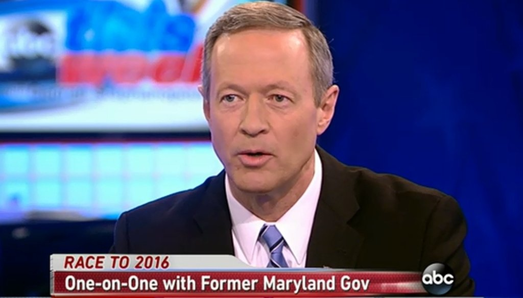 "Former Maryland Gov. Martin O'Malley appeared on ABC's ""This Week."" Was his claim about wages accurate? We took a closer look."