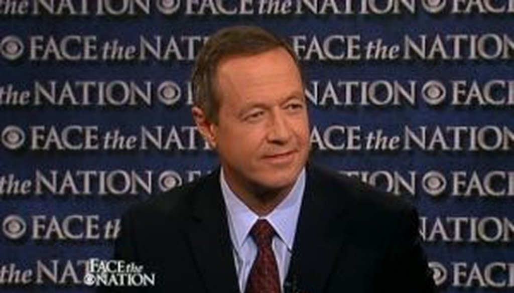 """On the CBS show """"Face the Nation,"""" Maryland Gov. Martin O'Malley, who chairs the Democratic Governors Association, expressed criticism of New Jersey Gov. Chris Christie's record on job creation as Christie considers entering the GOP presidential race."""
