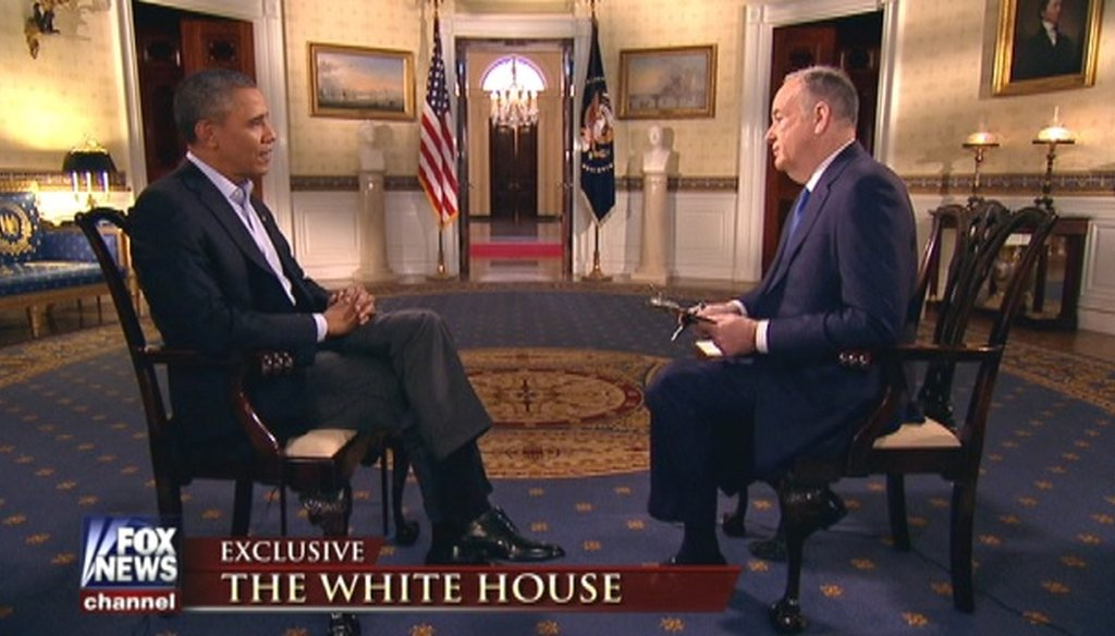 Fox News' Bill O'Reilly interviewed President Barack Obama before the Super Bowl on Feb. 2, 2014.
