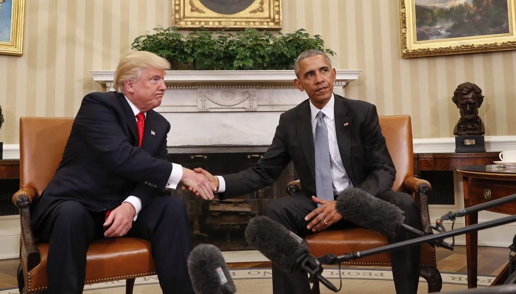 Donald Trump and Barack Obama meet at the White House on Nov. 10, 2016.