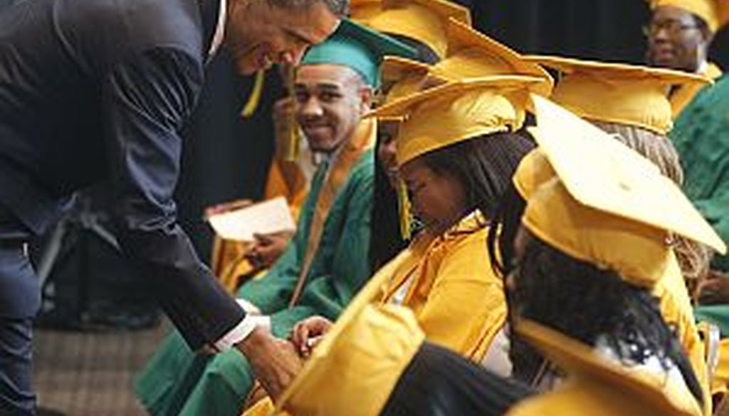 President Obama greeted graduates, some overcome with emotion, before he delivered the commencement address at Booker T. Washington High School in Memphis, Tenn. on May 16, 2011.