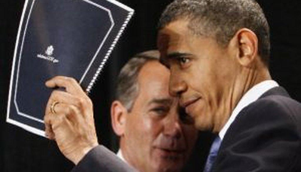 President Barack Obama and future House Speaker John Boehner cross paths in 2010. Both earned False ratings today from the Truth-O-Meter.