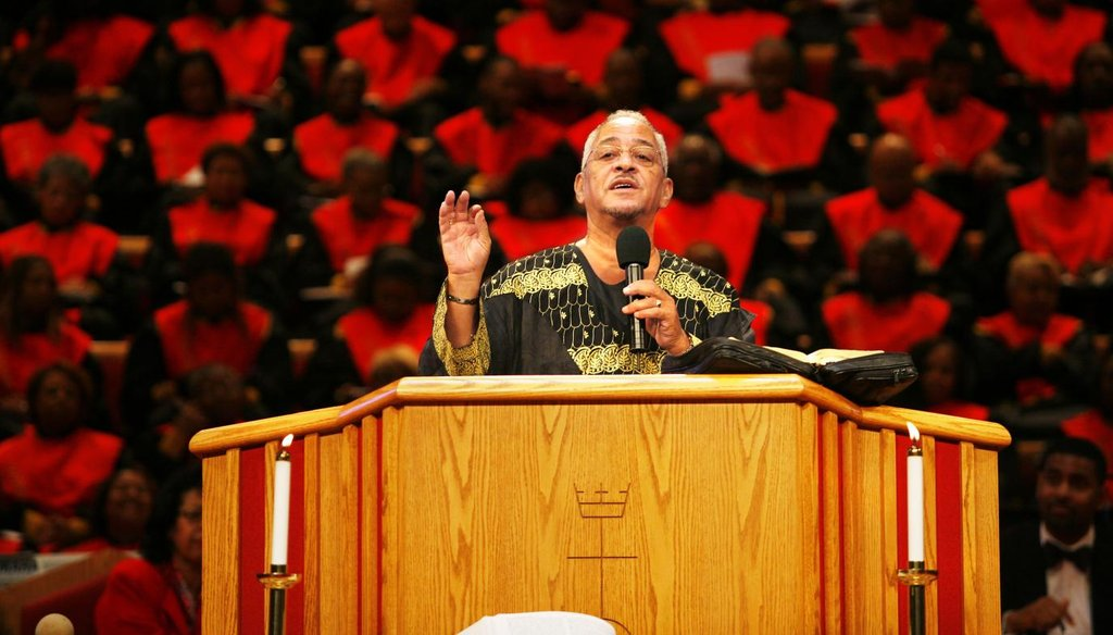 Rev. Jeremiah Wright speaks to his congregation at the Trinity United Church of Christ, in Chicago in this, Oct. 22, 2006, file photo. (AP)