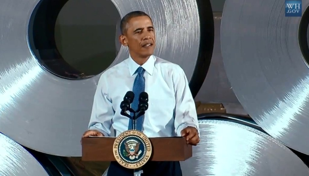 President Barack Obama gave a speech touting the nation's manufacturing economy at a factory in Princeton, Ind., on Oct. 3, 2014.