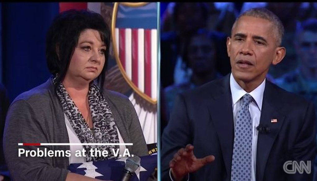 Army widow Donna Coates pressed President Barack Obama on improving the Department of Veterans Affairs at a CNN town hall on Sept. 28, 2016.
