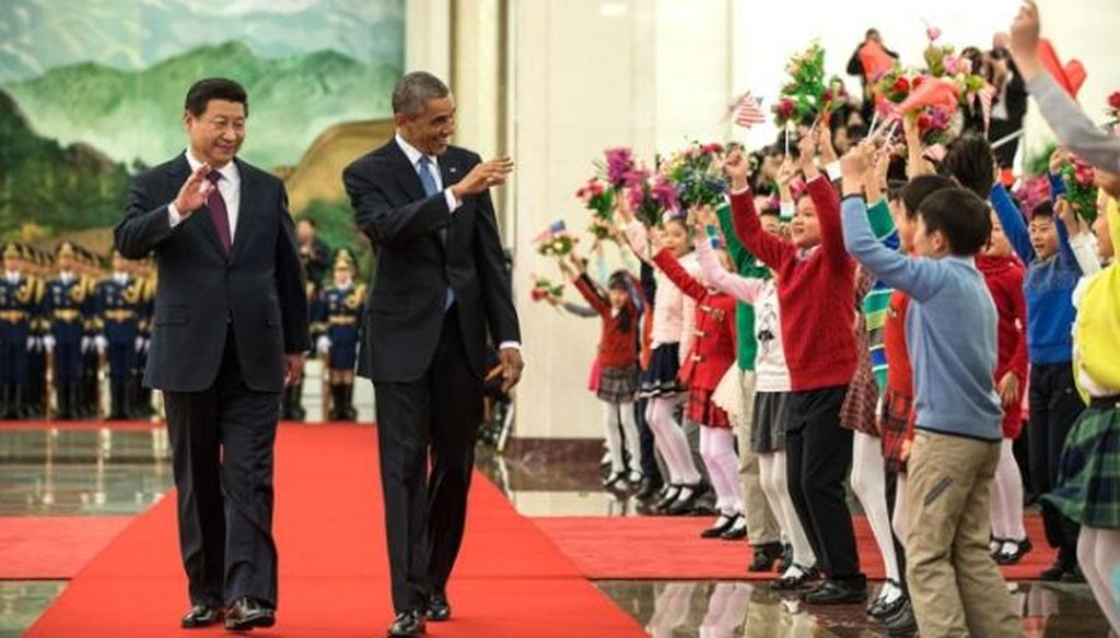 President Barack Obama and President Xi Jinping of China greet children during the State Arrival Welcome Ceremony at the Great Hall of the People in Beijing, China, Nov. 12, 2014. (White House photo)