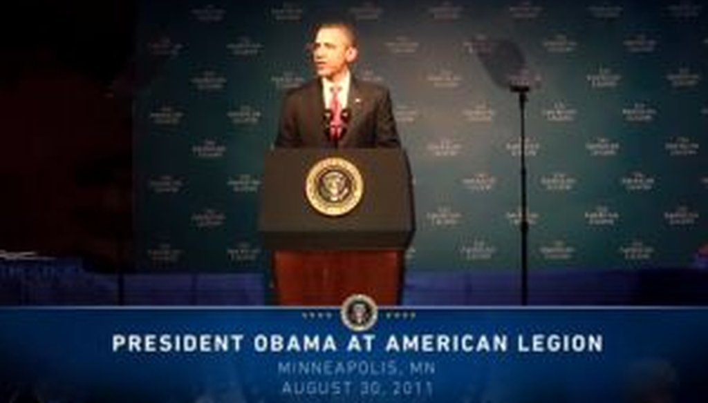 President Barack Obama addressed the 93rd Annual Conference of the American Legion on Aug. 30, 2011.