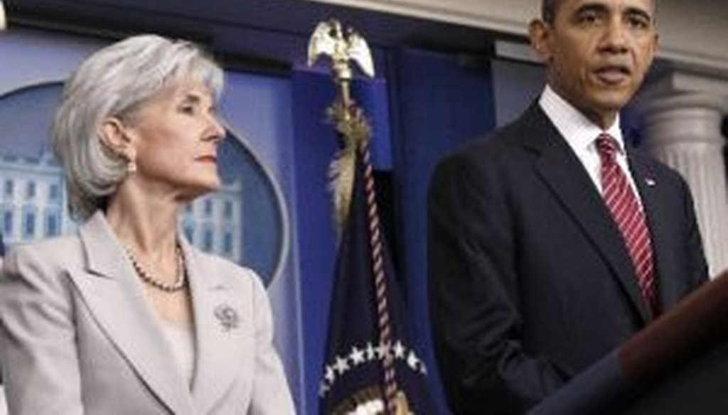 President Barack Obama, accompanied by Health and Human Services Secretary Kathleen Sebelius, announces the revamp of his contraception policy that required religious institutions to fully pay for birth control, on Feb. 10, 2012, at the White House.