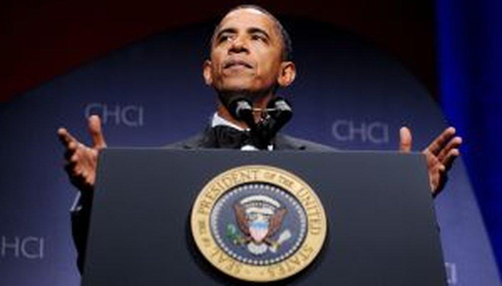 President Barack Obama speaks at the Congressional Hispanic Caucus Institute's awards gala on Sept. 15, 2010.