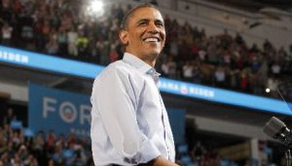 President Barack Obama speaks during a campaign rally at the Value City Arena in Columbus, Ohio, on May 5, 2012.