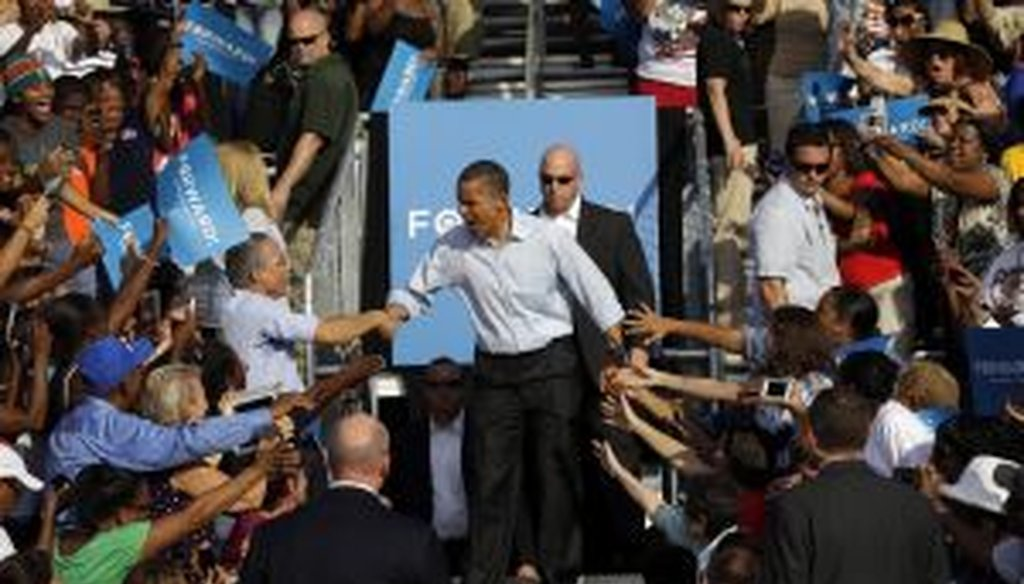 President Barack Obama campaigns in Hollywood, Fla., on Nov. 4, 2012. (AP Photo)