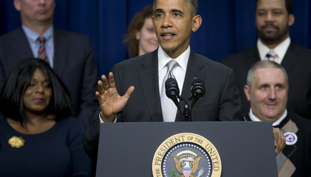 President Barack Obama spoke about his health care law on Dec. 3, 2013, two days before U.S. Sen. Ron Johnson made a claim about the law and what's happened to health insurance premiums.