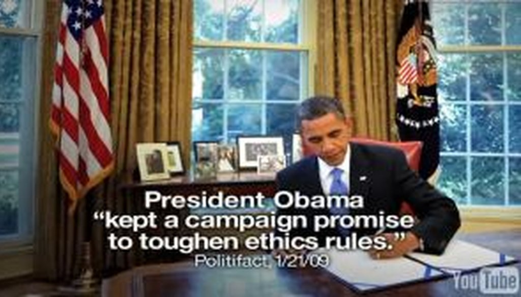 In an ad, President Barack Obama's re-election campaign quoted PolitiFact to back up a claim that he had passed ethics reforms. We check to see whether the attribution is accurate.