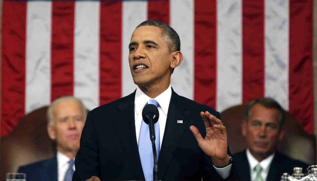 President Barack Obama delivers the State of the Union address to a joint session of Congress on Jan. 28, 2014. (AP photo)