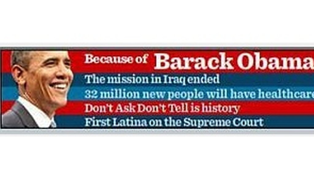 An ad from the Obama campaign cites some accomplishments since he took office.