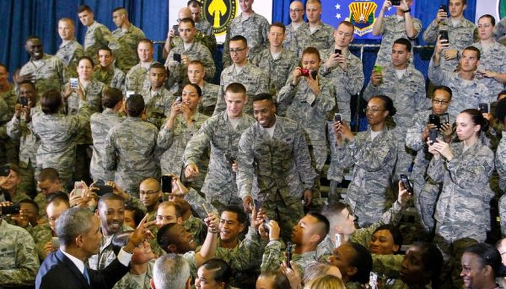 President Barack Obama greets some of the 1,200 servicemen and women after a speech at MacDill Air Force Base on Sept. 17, 2014. (James Borchuck/Tampa Bay Times)