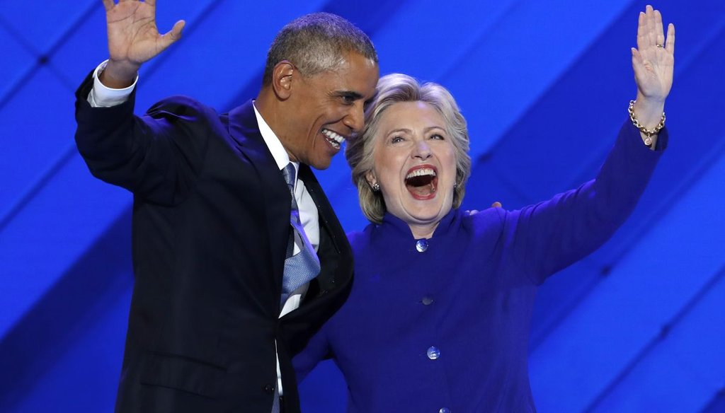 President Barack Obama and Democratic presidential candidate Hillary Clinton wave to the crowd during the third day of the Democratic National Convention in Philadelphia. (AP)