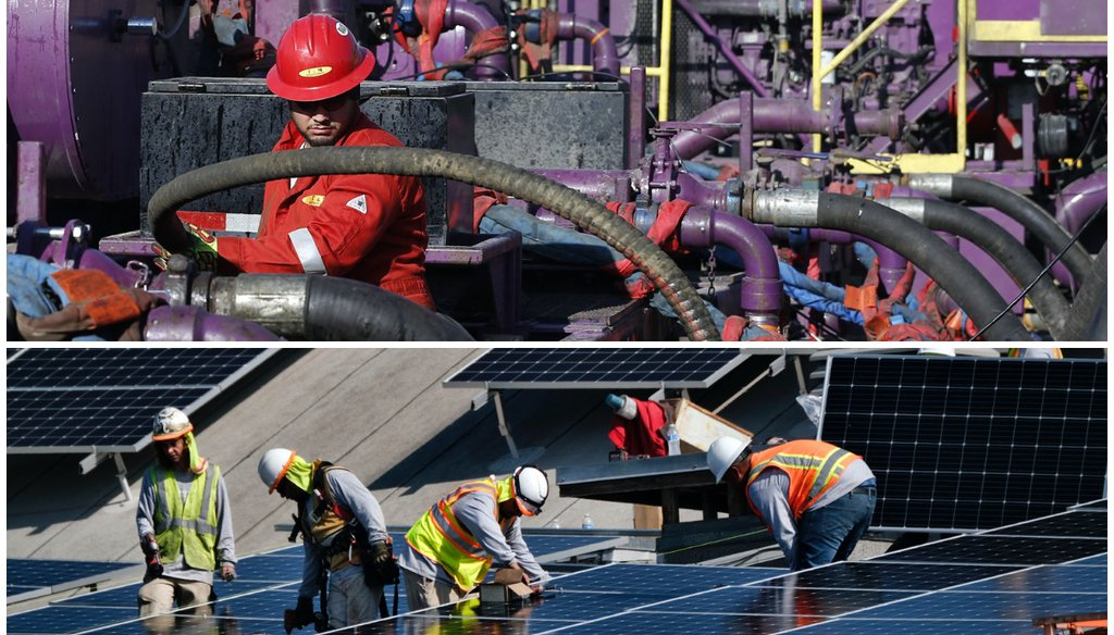 President Joe Biden aims to promote renewable energy, but many in the fossil fuel sector fear that will come at their expense. (AP Photo/Brennan Linsley/Richard Vogel)
