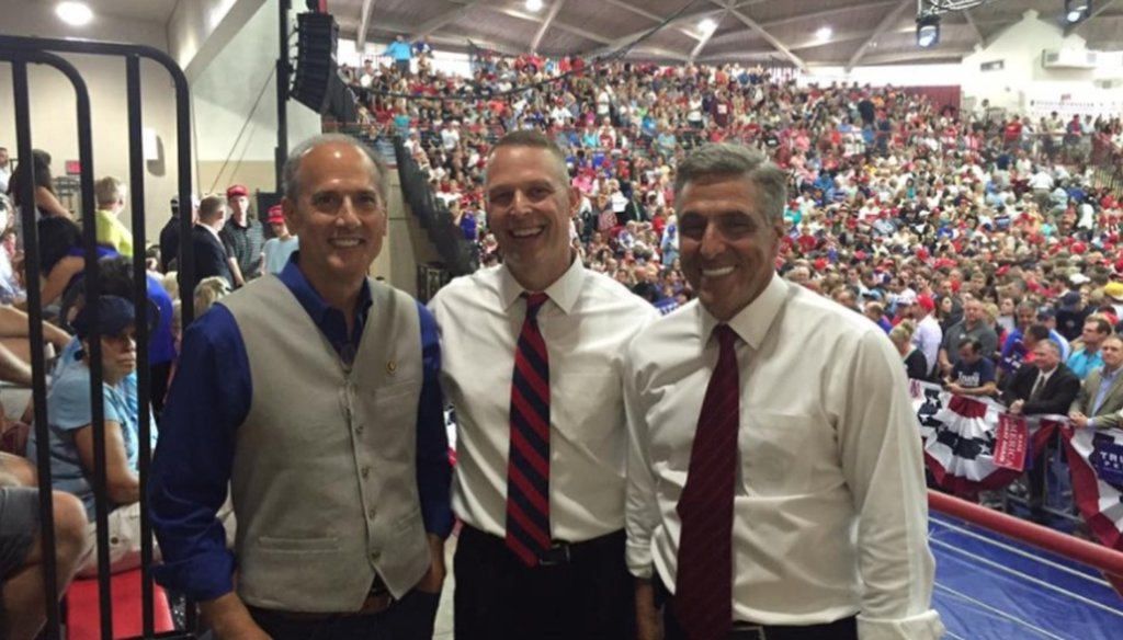 From left to right: PA Congressman Tom Marino, PA Congressman Scott Perry and PA Congressman Lou Barletta at a Donald Trump rally. FACEBOOK