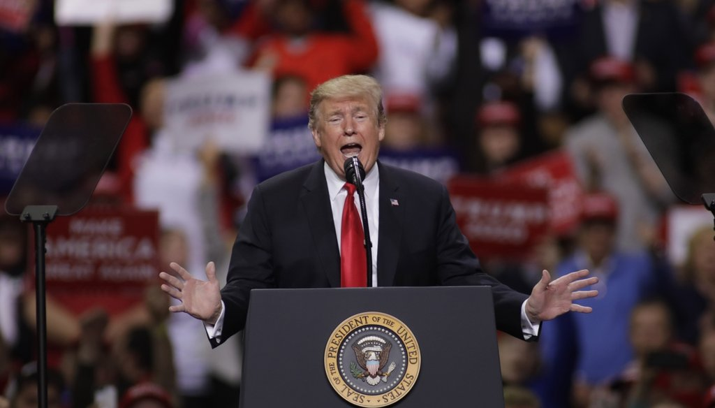President Donald Trump speaks at a rally in Green Bay, Wis., on April 27, 2019 (Getty Images)