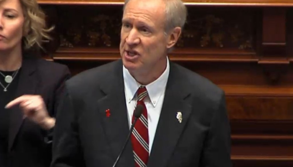 Illinois Gov. Bruce Rauner speaks to the General Assembly in 2017.