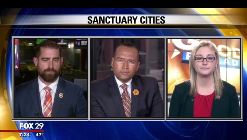 Martina White and Brian Sims debated sanctuary cities on Fox 29 in March.
