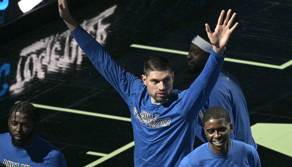 Orlando Magic center Nikola Vucevic acknowledges the crowd after it was announced, before an NBA basketball game against the Detroit Pistons on Feb. 23, 2021, in Orlando, Fla., that he was selected for the 2021 All-Star game. (AP)