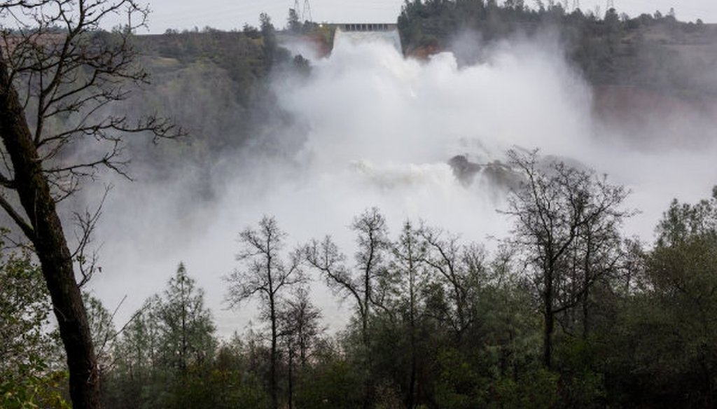 Water rushes down the Oroville dam spillway in Northern California. Photo courtesy California Department of Water Resources