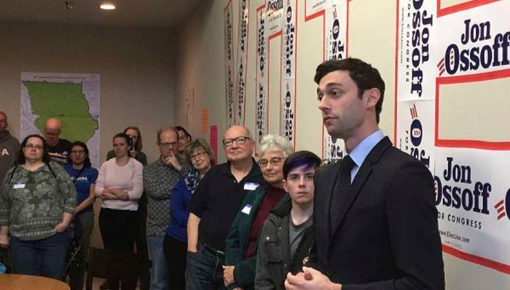 Georgia Democratic congressional candidate Jon Ossoff speaks to volunteers in his Cobb County campaign office on March 11, 2017. (AP/Bill Barrow)