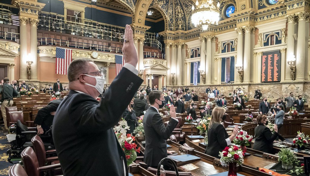 First term legislators of the Pennsylvania House of Representatives are sworn-in, Tuesday, Jan. 5, 2021, at the state Capitol in Harrisburg, Pa. (AP)