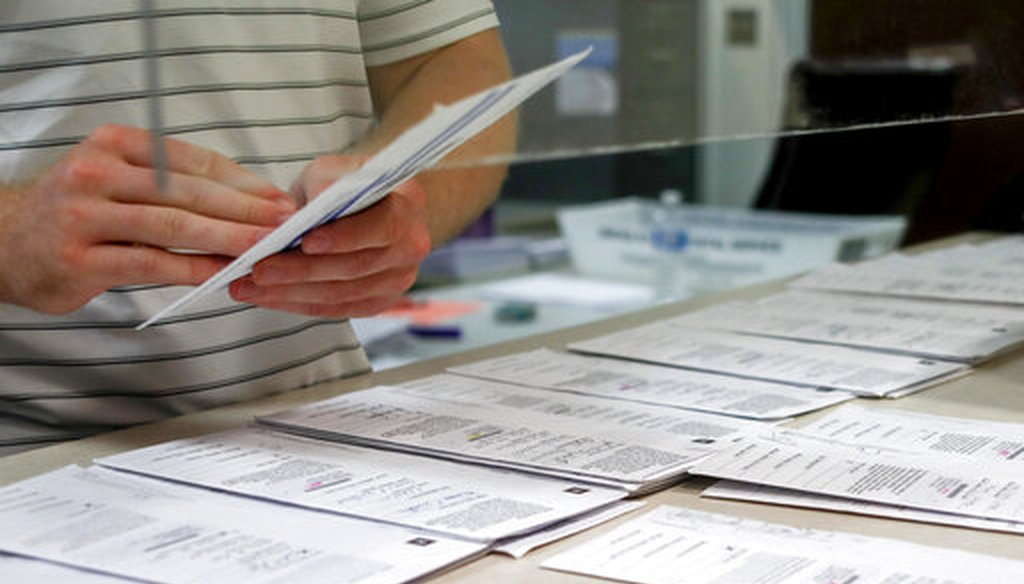 Processing work on mail in ballots for the Pennsylvania Primary election is being done by Tim Vernick at the Butler County Bureau of Elections, Thursday, May 28, 2020, in Butler, Pa. (AP)