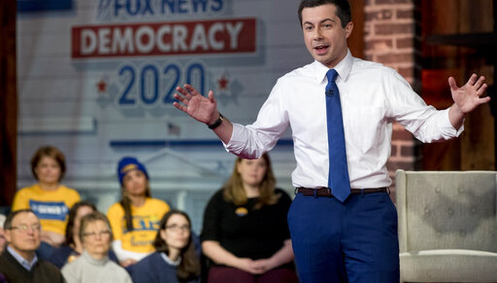 Democratic presidential candidate former South Bend, Ind., Mayor Pete Buttigieg speaks at a FOX News Channel Town Hall at the River Center, Sunday, Jan. 26, 2020, in Des Moines, Iowa. (AP)