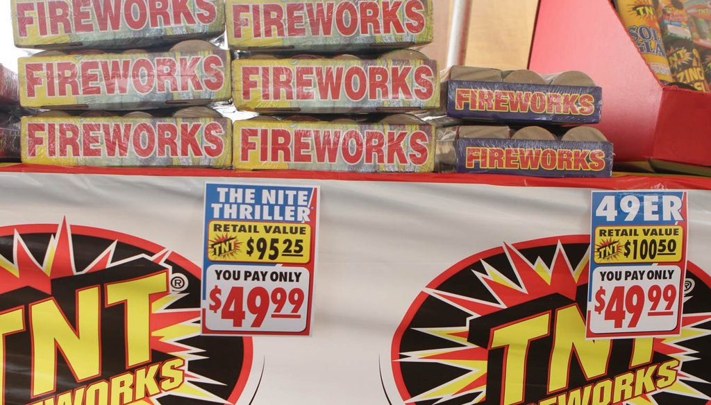 Fireworks on display in East Providence in June, 2011, after Rhode Island's ban on sparklers and similar devices was lifted. (The Providence Journal / John Freidah)