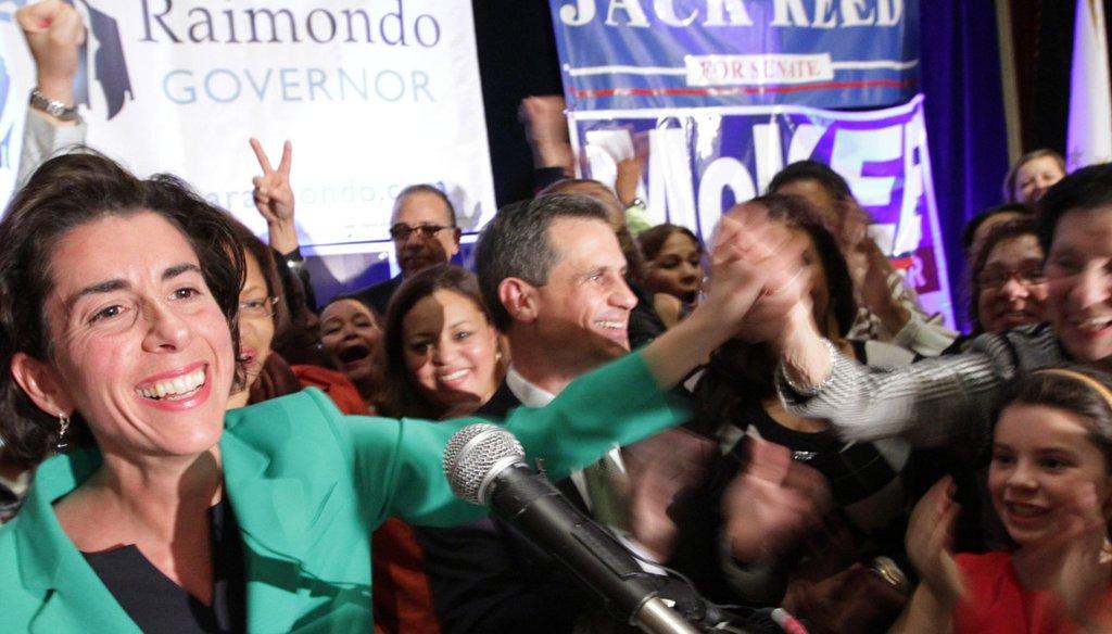 Gina Raimondo celebrates her election victory on Nov. 4, 2014. (Providence Journal / Sandor Bodo)