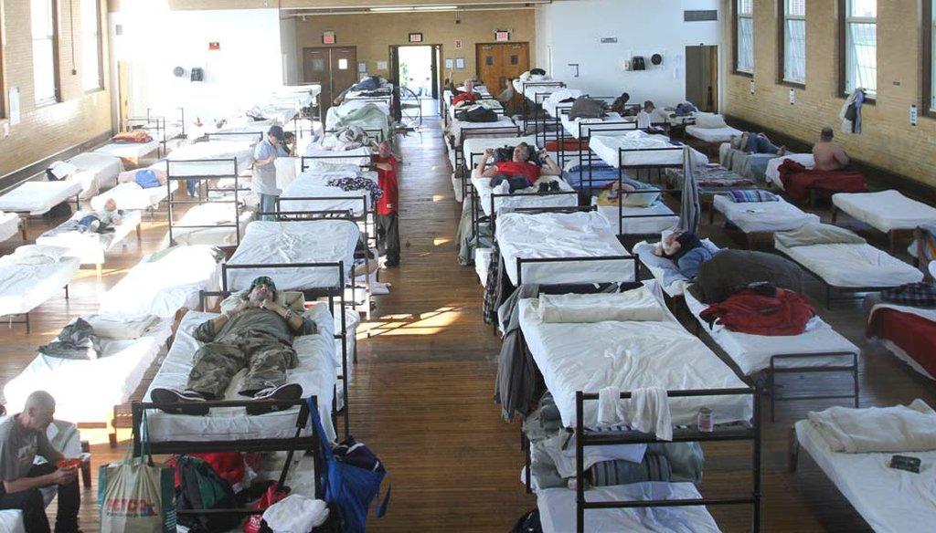 Homeless shelter beds at Harrington Hall in Cranston in 2012 (The Providence Journal / John Freidah)