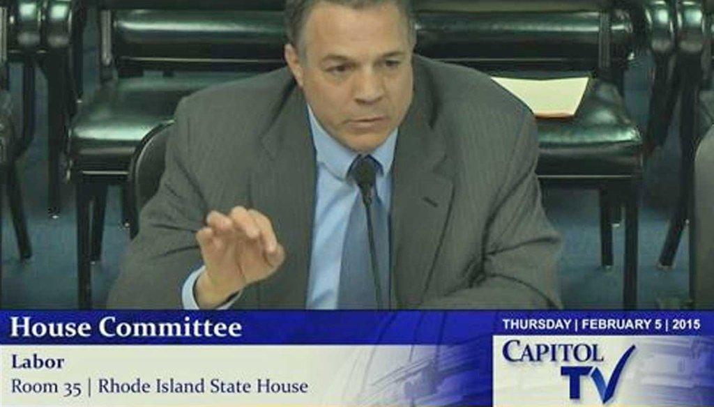 Rhode Island Sen. Leonidas P. Raptakis, D-Coventry, addresses the House Committee on Labor Feb. 5, 2015. (Capitol TV)
