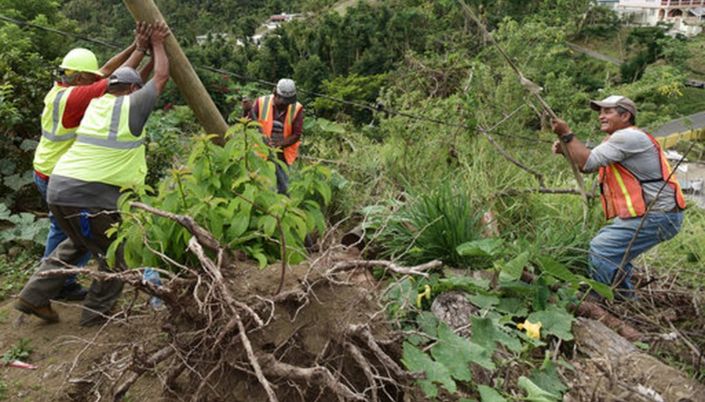 In this Jan. 31, 2018 file photo, Public Works Sub-Director Ramon Mendez, wearing a hard hat at left, works with municipal workers, as they install a new post to return electricity in El Ortiz sector of Coamo, Puerto Rico. (AP)