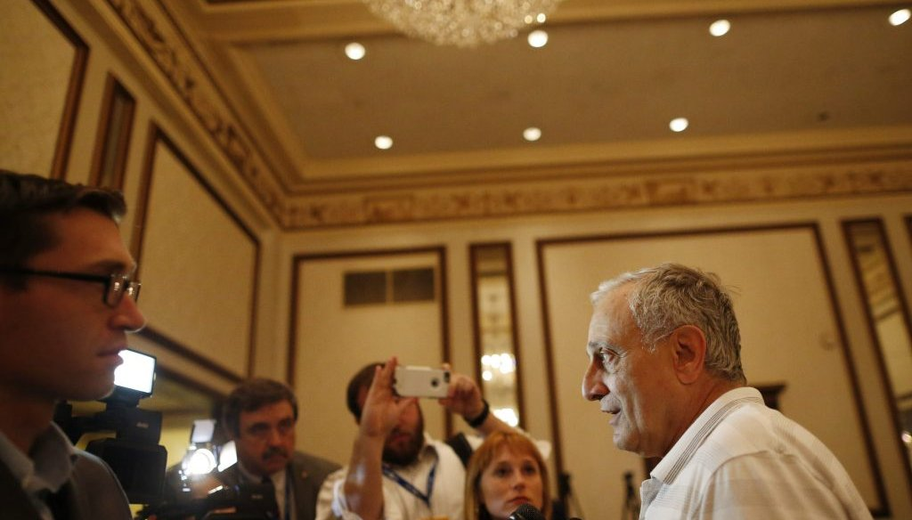 Carl Paladino talks to the media during the New York delegation breakfast at the Renaissance Hotel on July 20. (Derek Gee/Buffalo News)