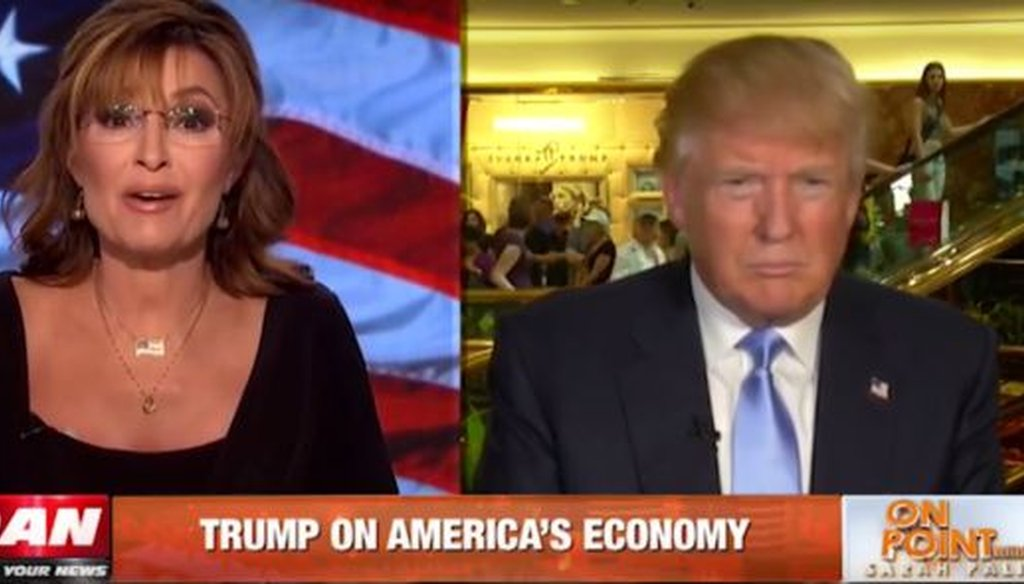 We checked a claim made by Donald Trump on Sarah Palin's show on One America News Network.