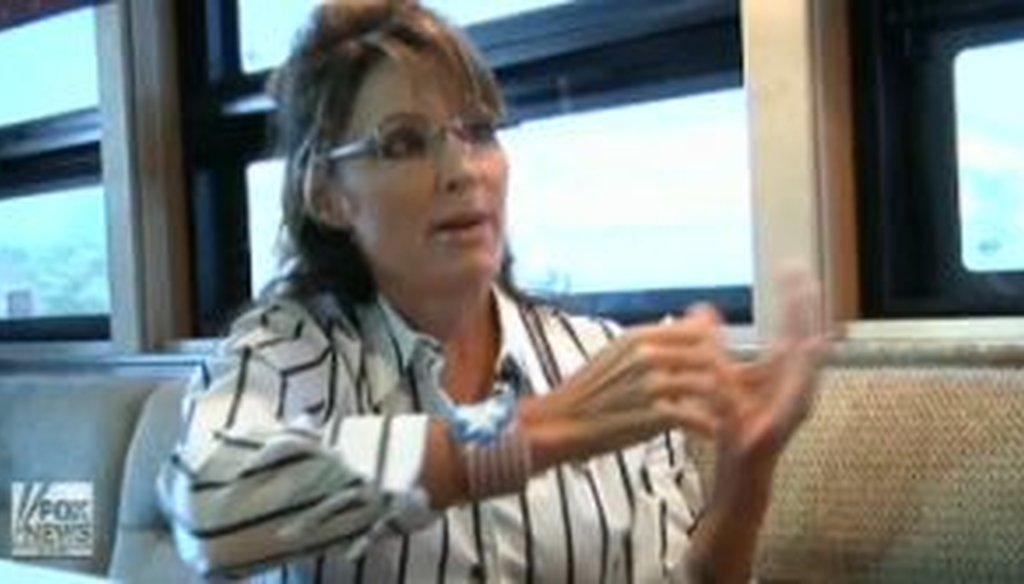 Former Alaska Gov. Sarah Palin was interviewed by Fox News' Greta Van Susteren during her bus trip. We checked a claim Palin made about the federal debt during this interview.