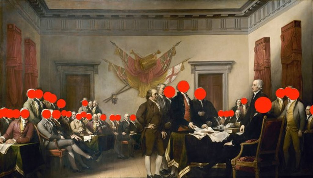 "Red dots were used to indicate which of the 47 men in the ""Declaration of Independence"" painting were slaveholders. (Twitter)"